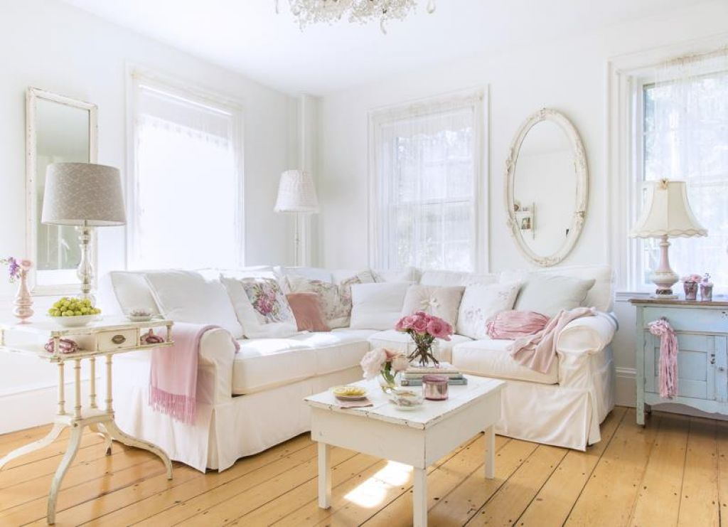Living Room with Shabby Chic Interior Design