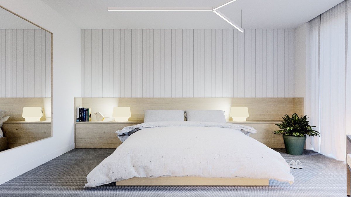 White Minimalist Bed Room
