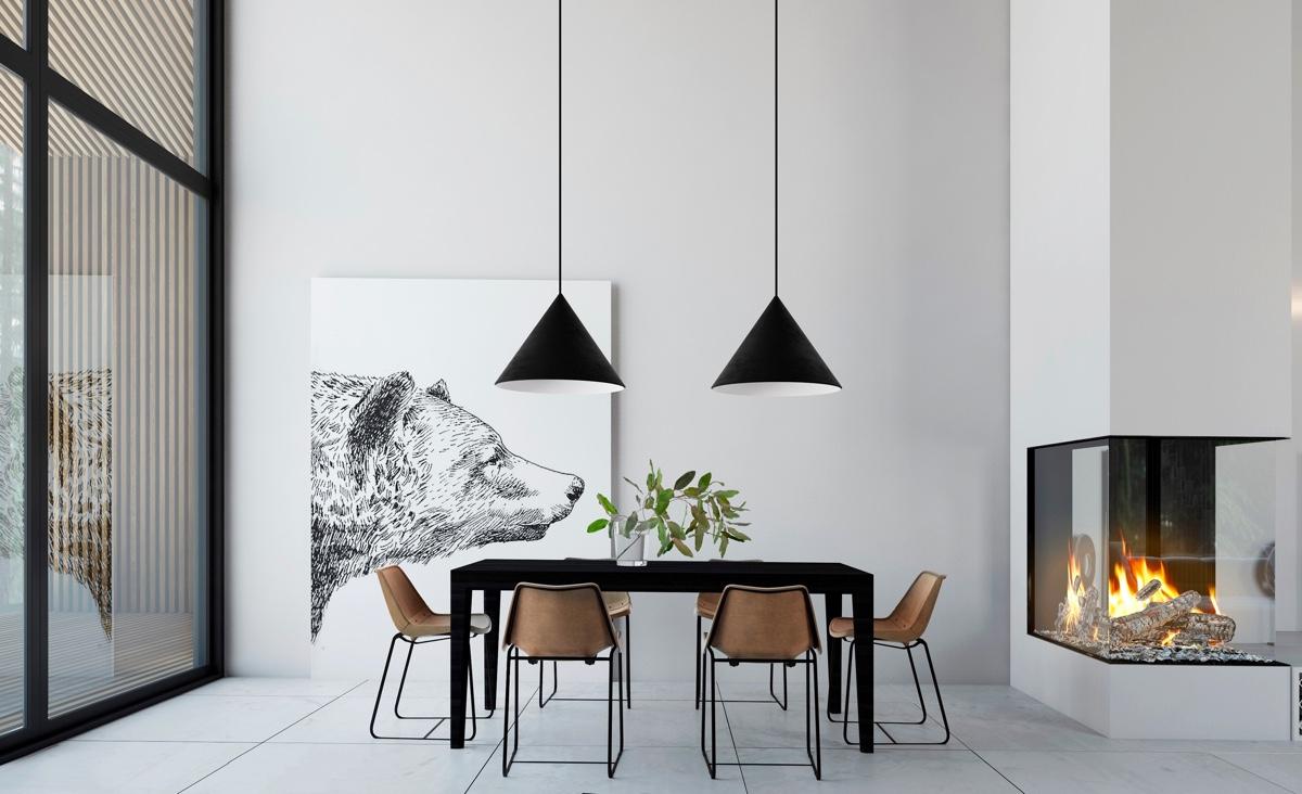 Monochrome Minimalist Dining Room
