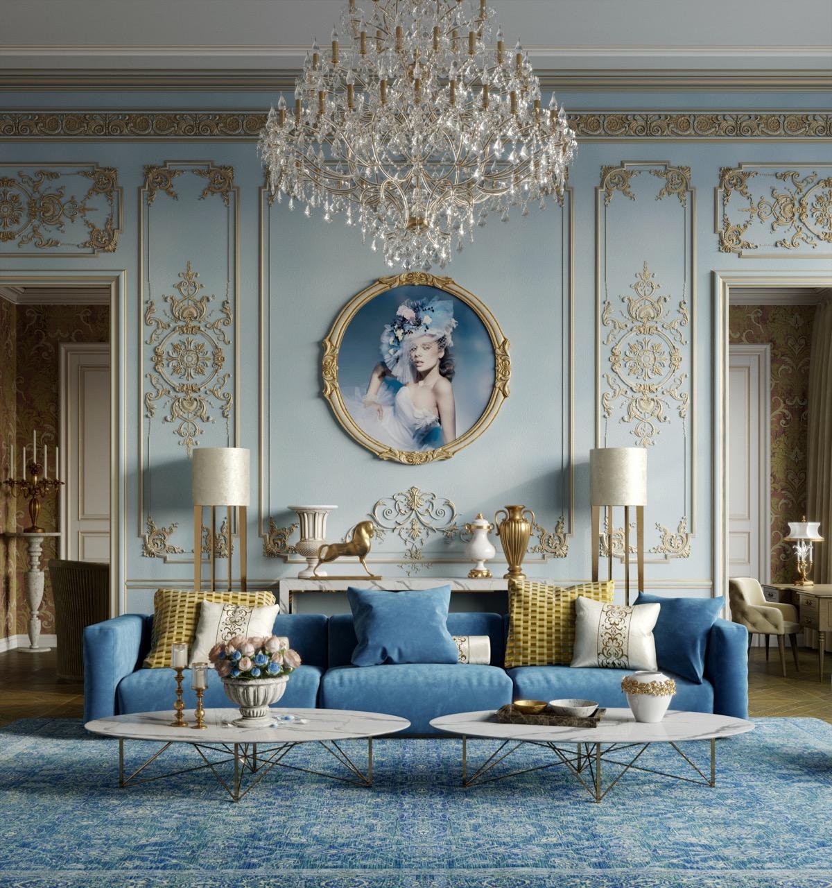 Blue Luxury Living Room