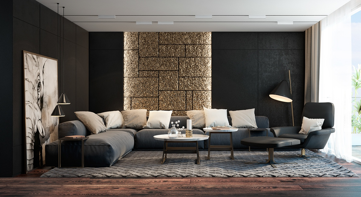 Luxurious Living Room with Gold Accents