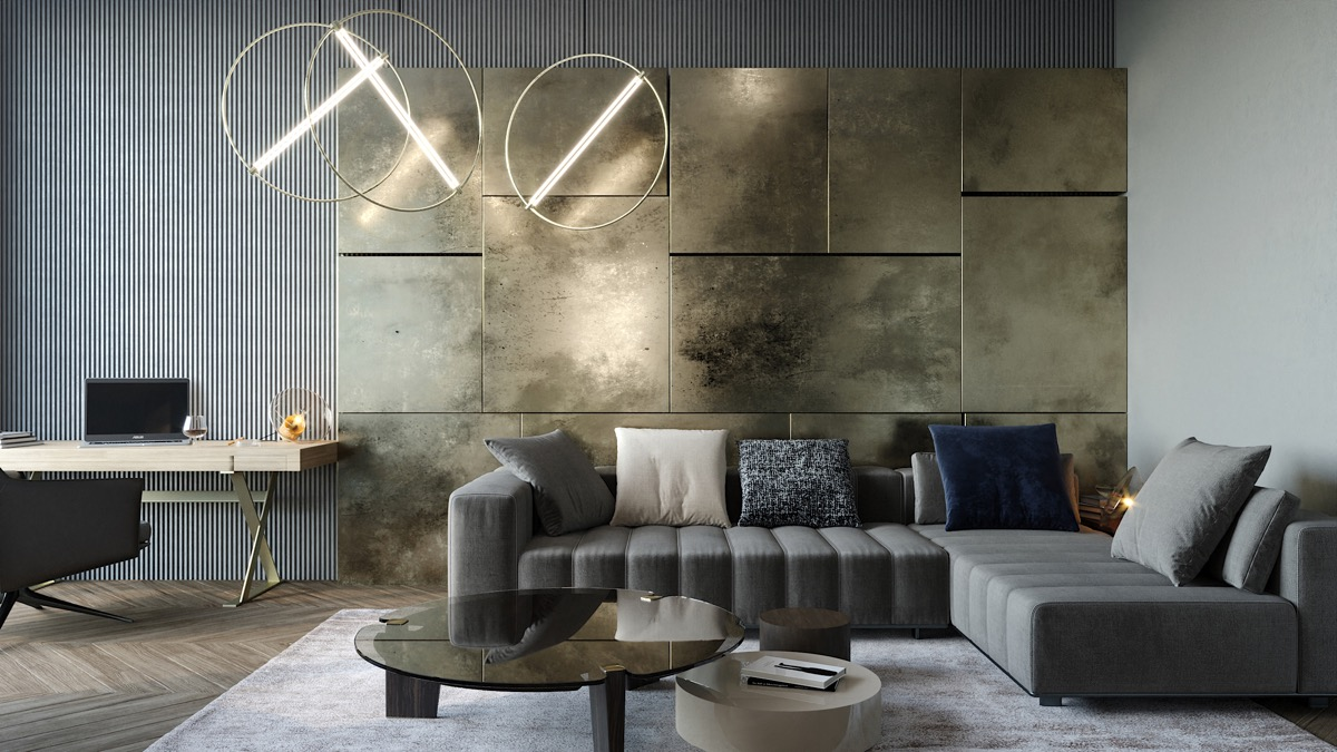 Luxurious Living Room with Metallic Accents