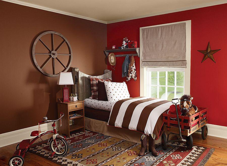 Red Minimalist Children's Bedroom