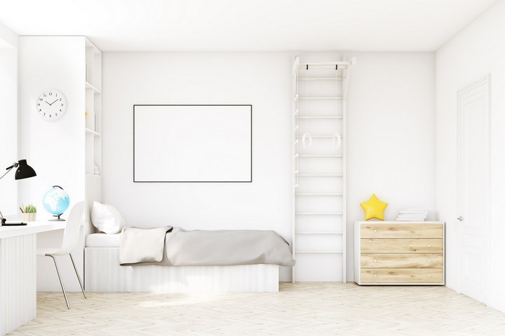 White Minimalist Children's Bedroom