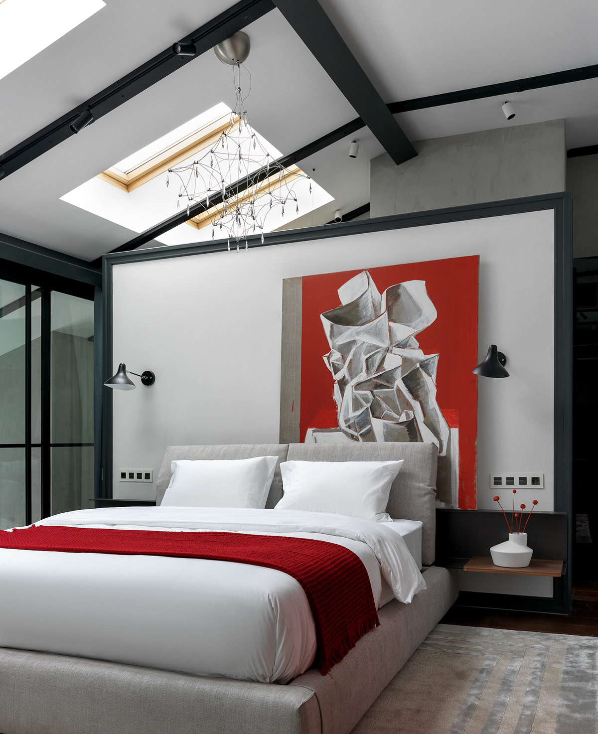Bedroom with Artistic Red Accents