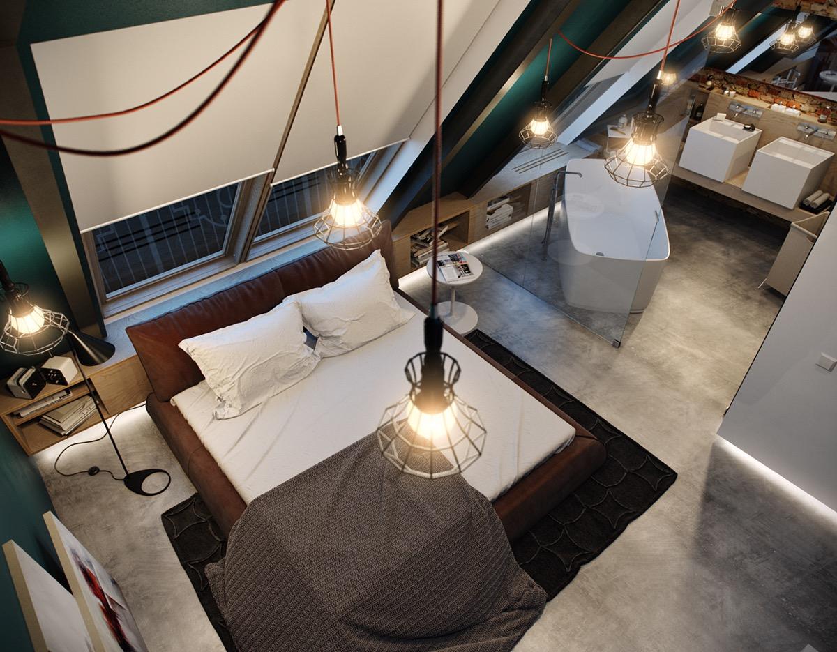 Attic Bedroom with Industrial Lighting