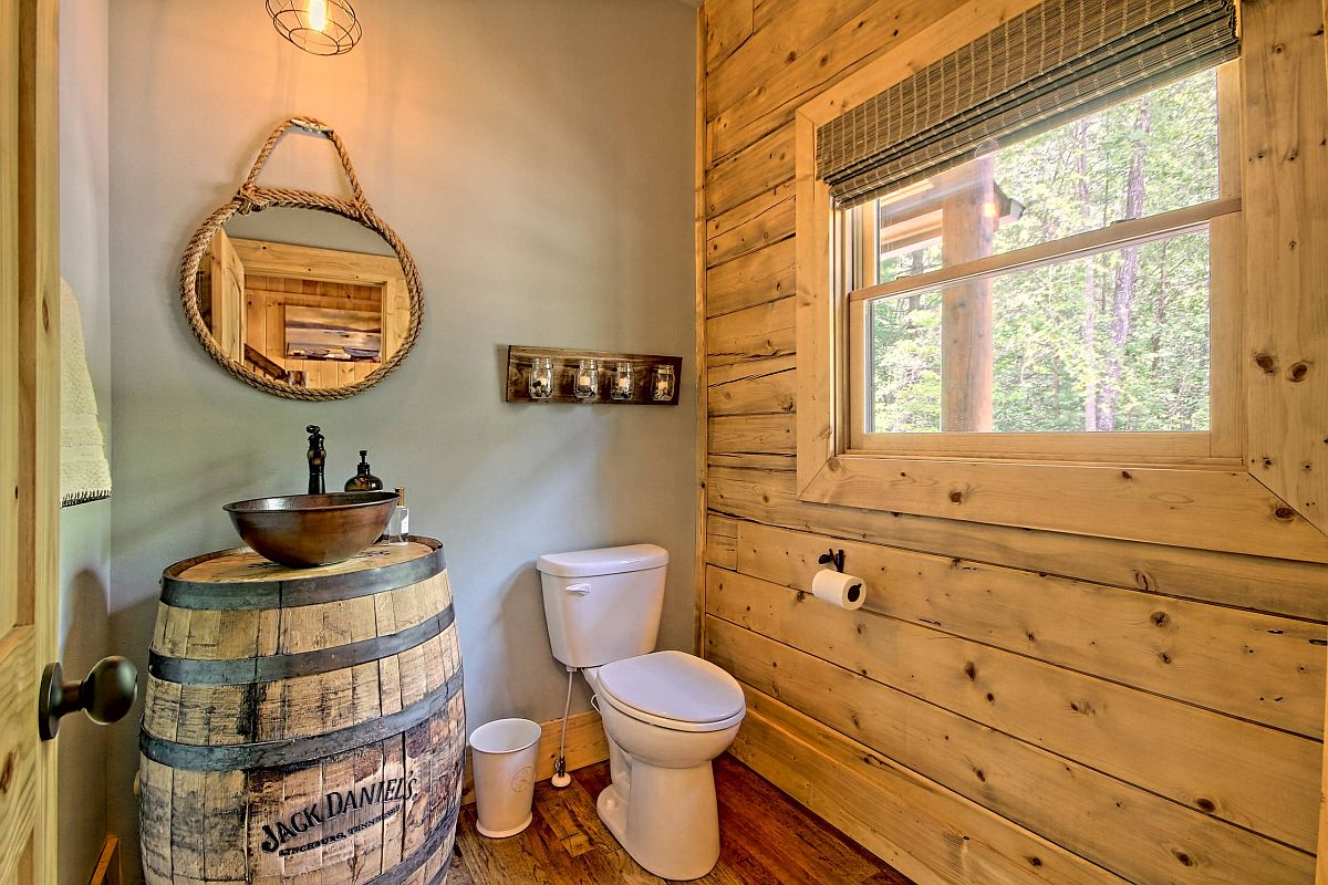 Log Cabin Style Rustic Bathroom