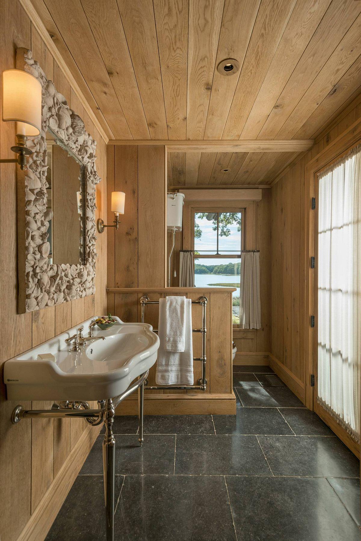 Rustic Bathroom with Unique Mirror Frame