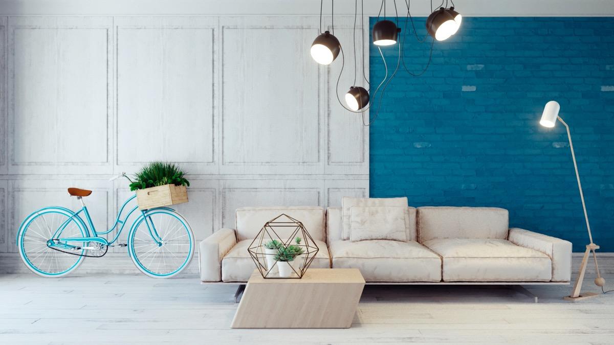 Industrial Blue Living Room
