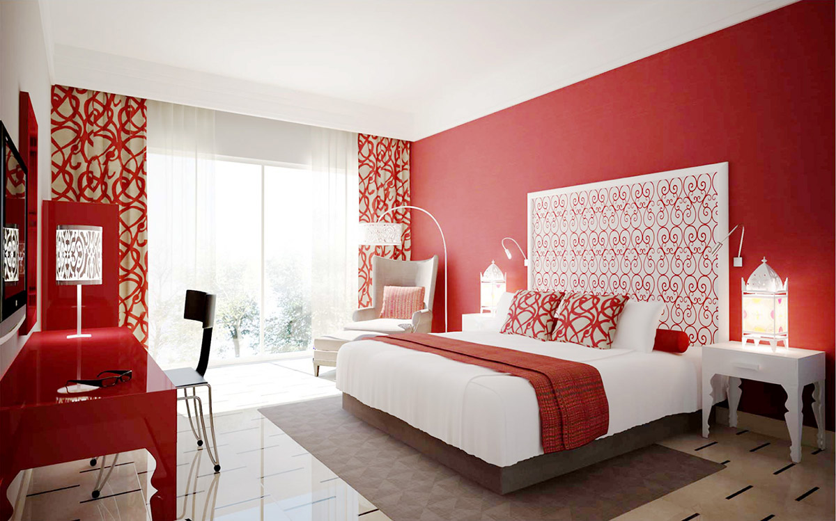 Red Bedroom with Unique Pattern