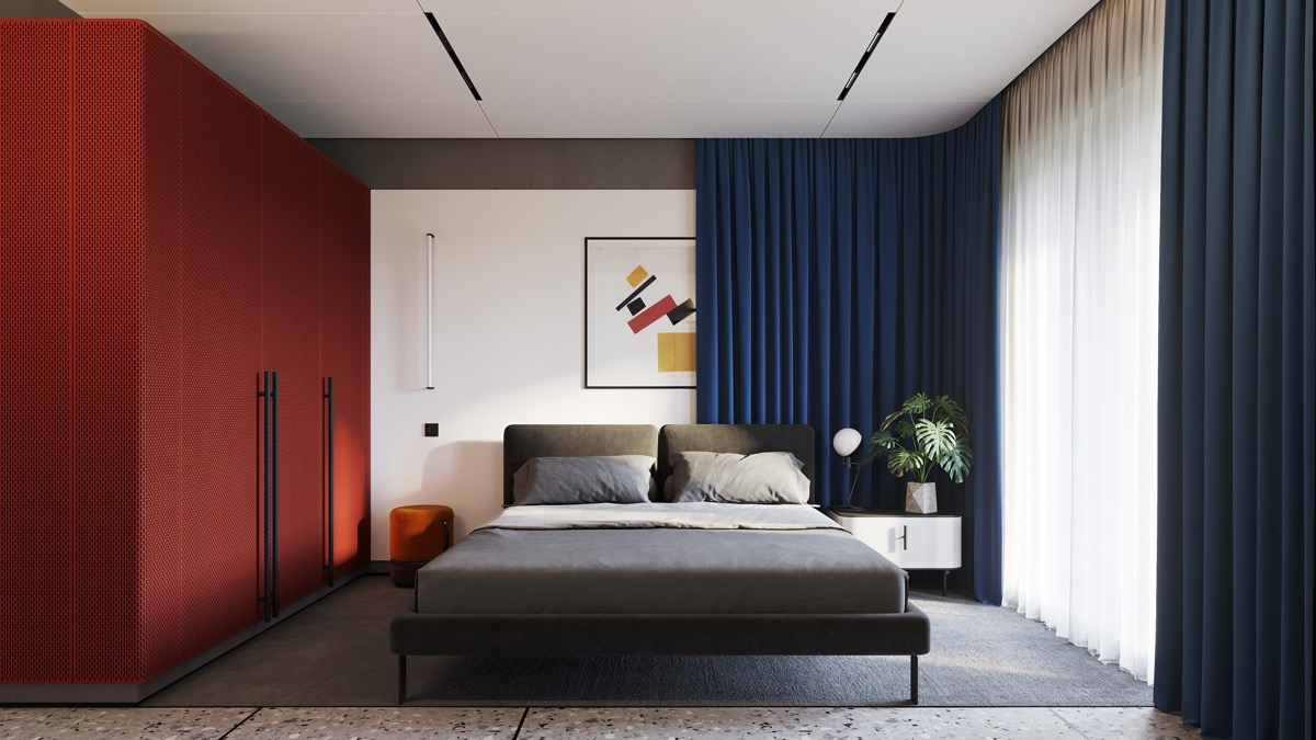Red and Navy Blue Bedroom