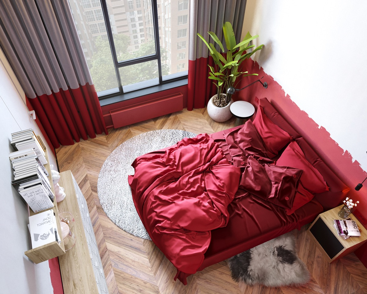 Bedroom with Red Bedding