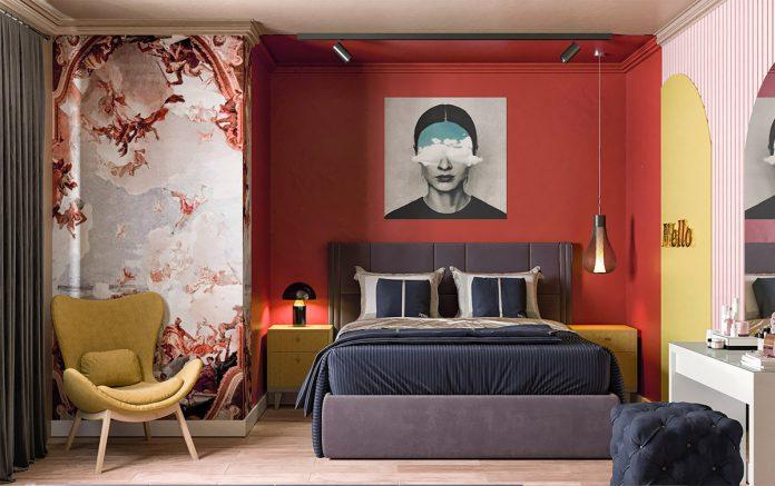 red bedroom interior