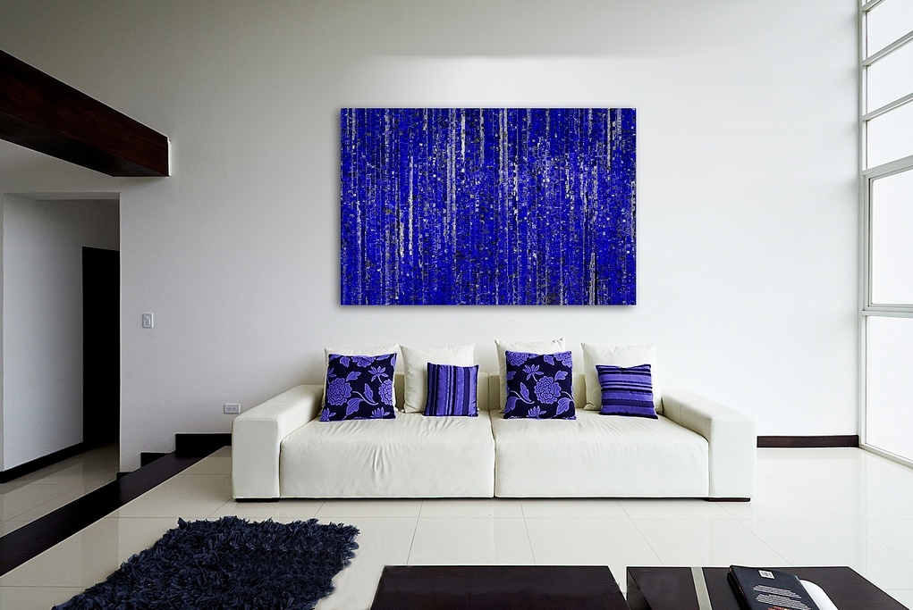 Blue Living Room with Simple Artwork