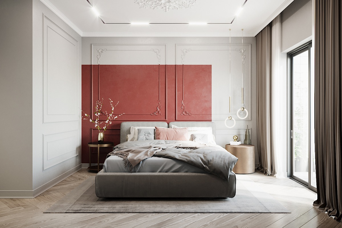 Bedroom with Simple Red Accents