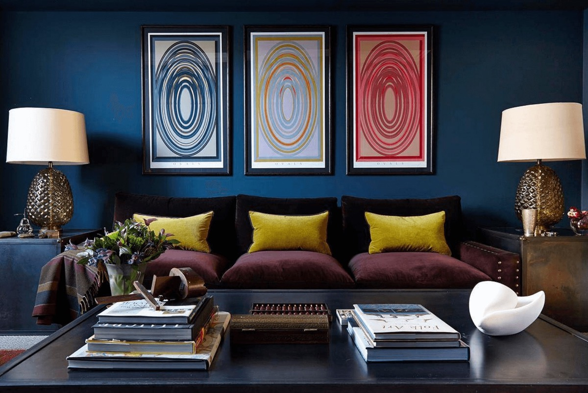 Blue Living Room with Wall Art