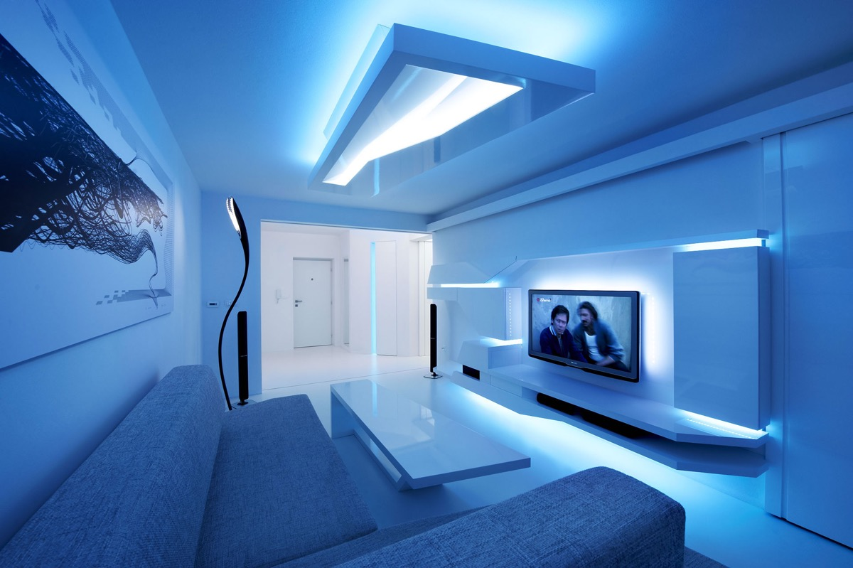 Blue Living Room with Ambient Lights