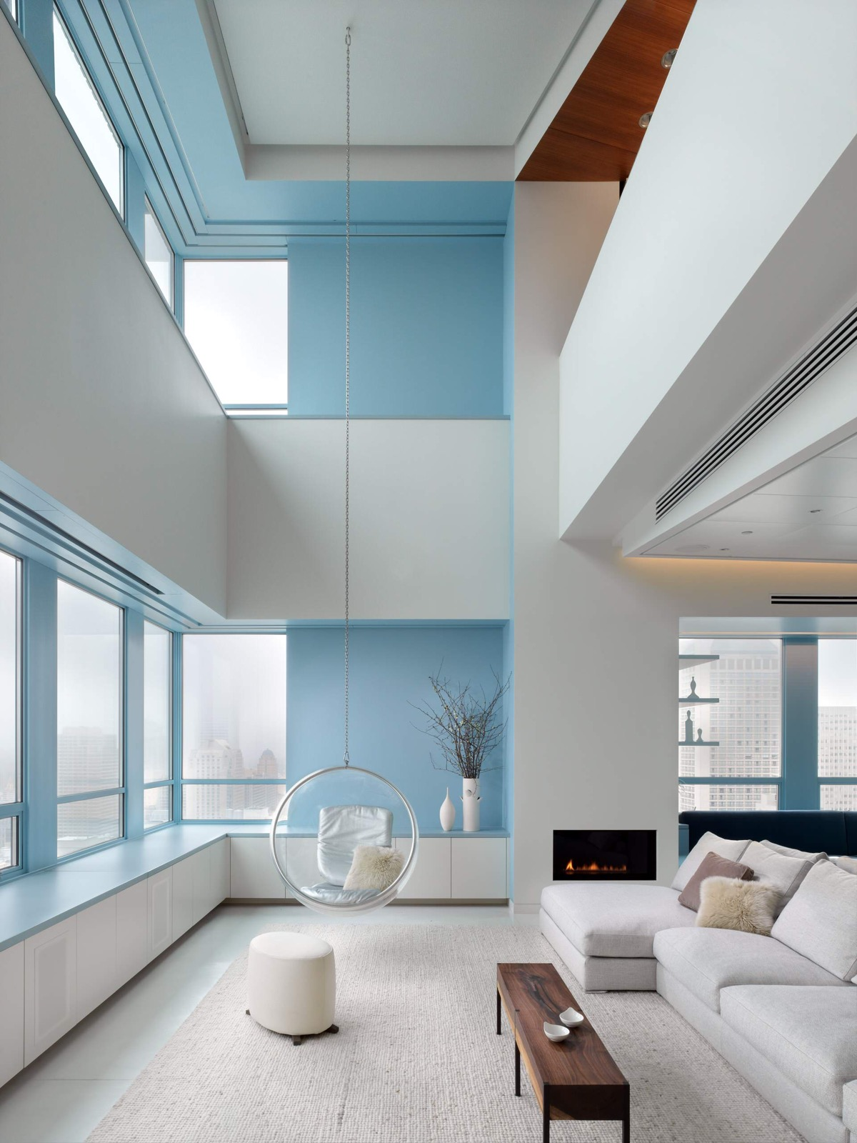 Blue Living Room with Fireplace