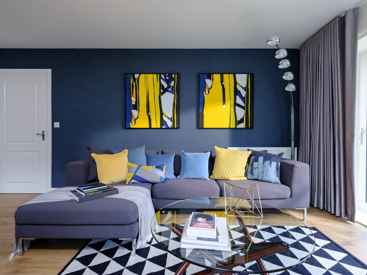 Blue Living Room with Yellow Accent