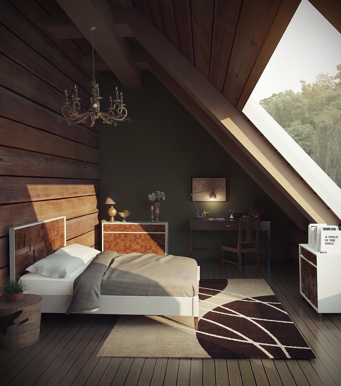 Wooden Attic Bedroom