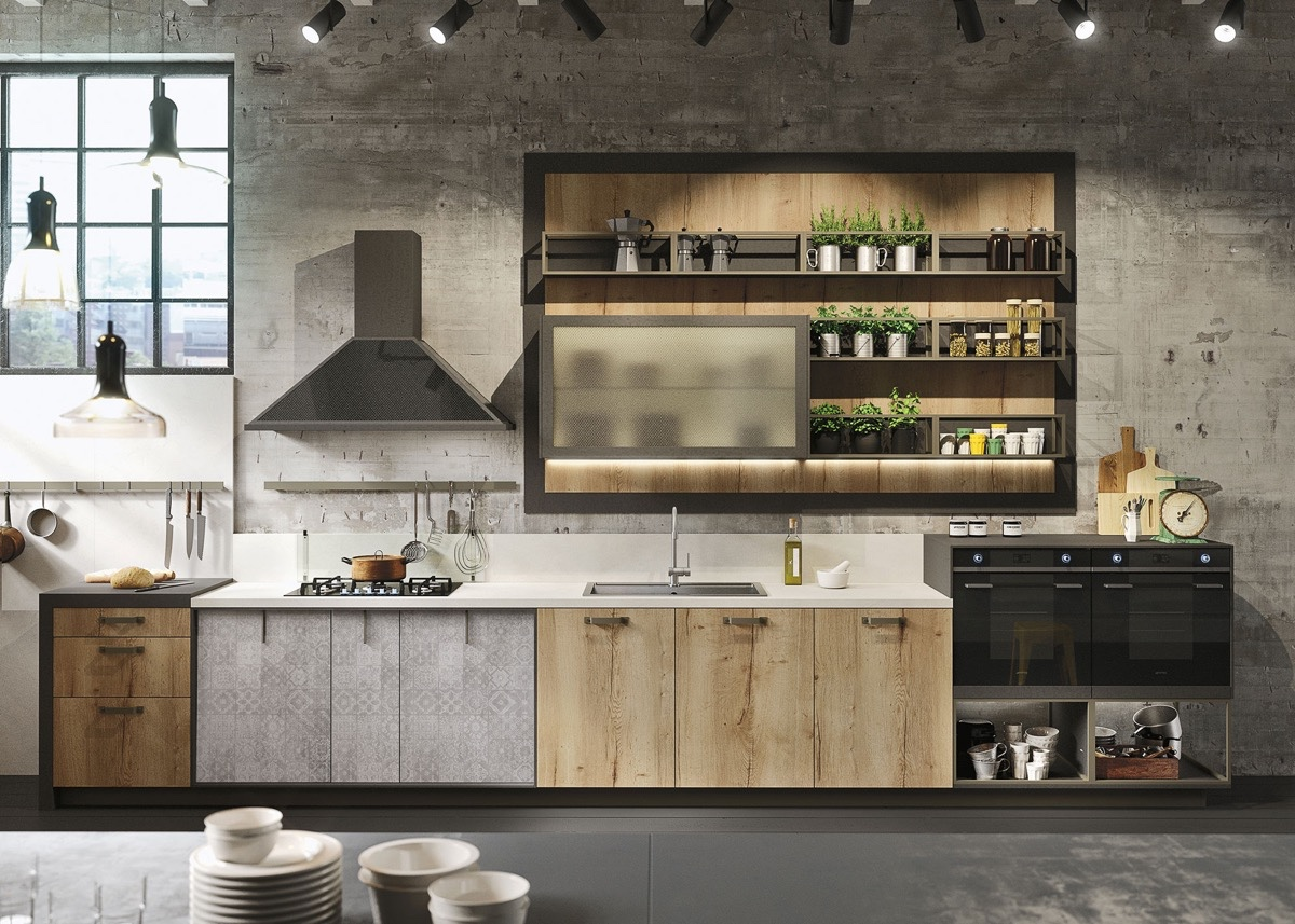 Concrete Wall Industrial Kitchen