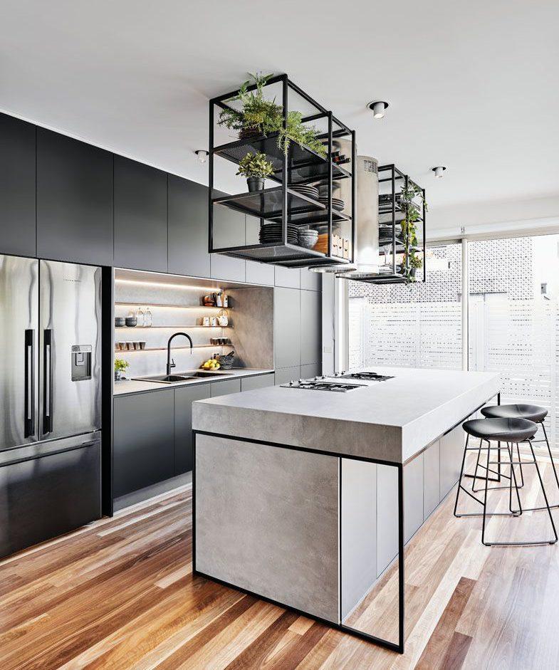 Industrial Kitchen With Mini Garden