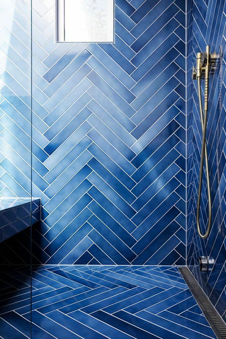 Blue Tiles for a Fresh Bathroom