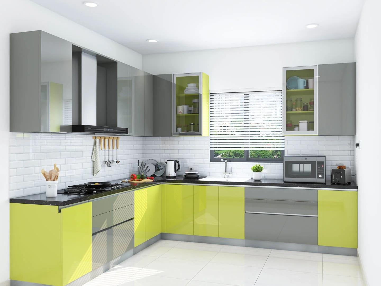 Cheerful Yellow L Shape Kitchen