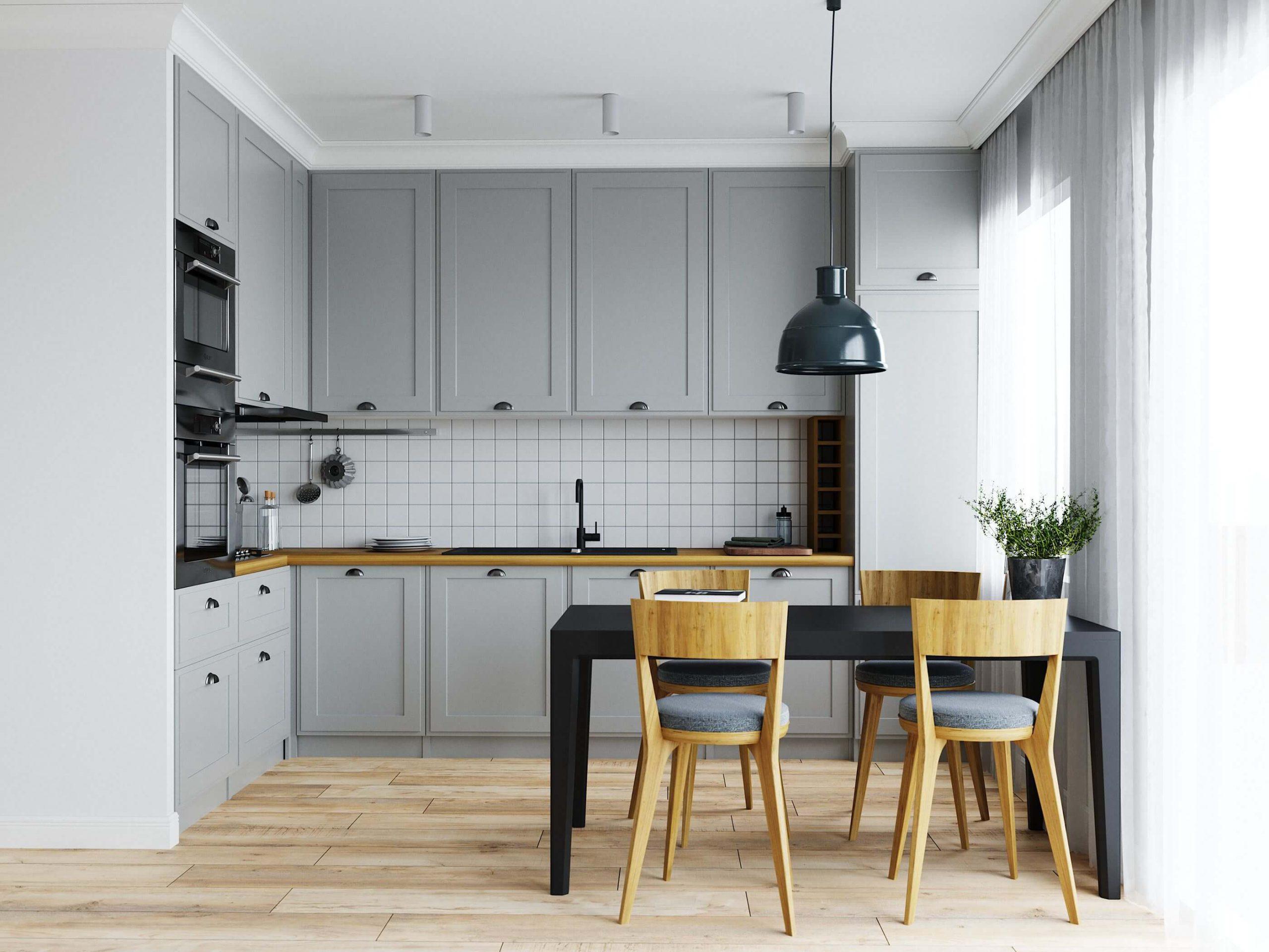 Elegant Gray L Shape Kitchen