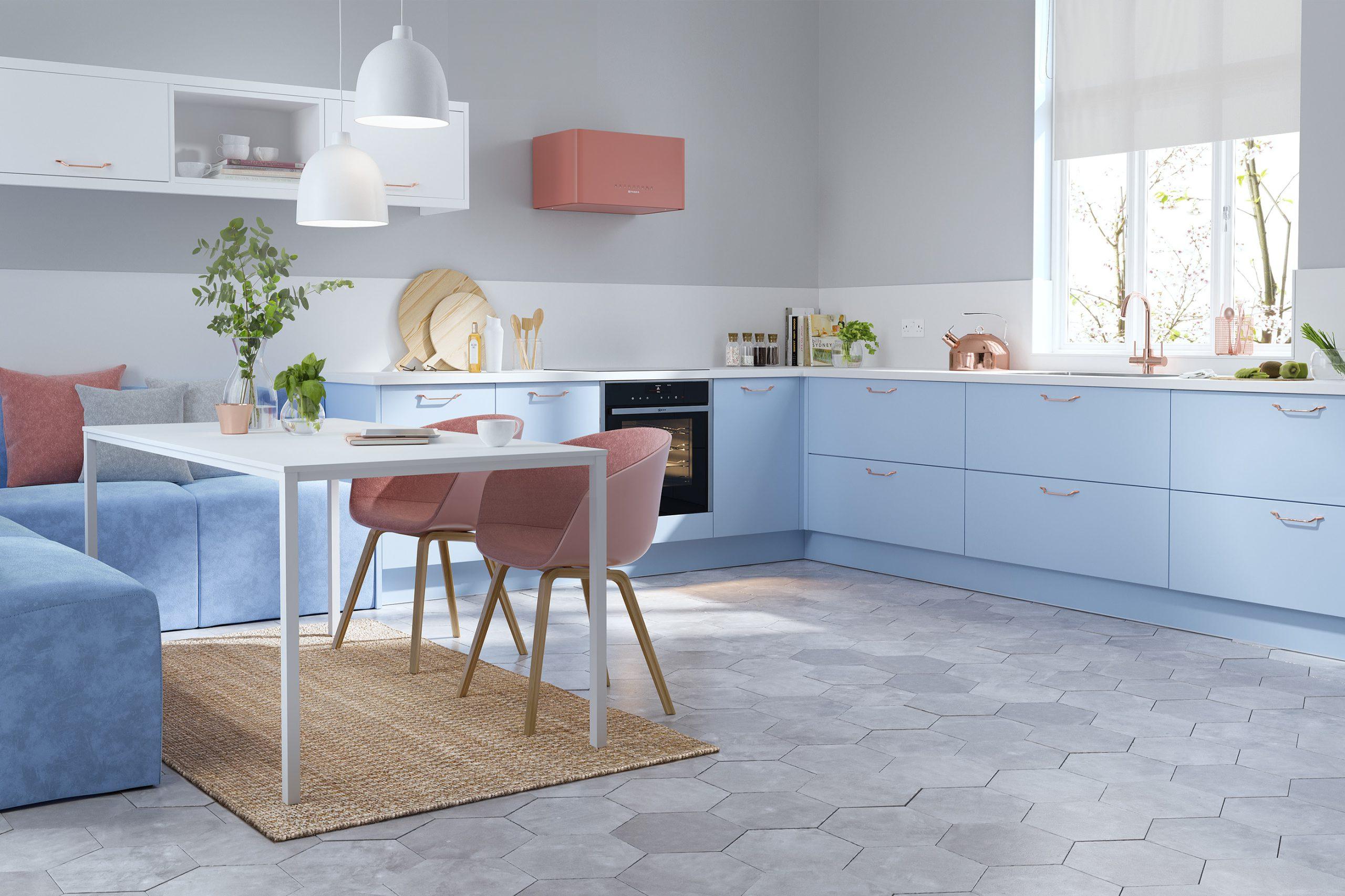 Fresh Blue L Shape Kitchen