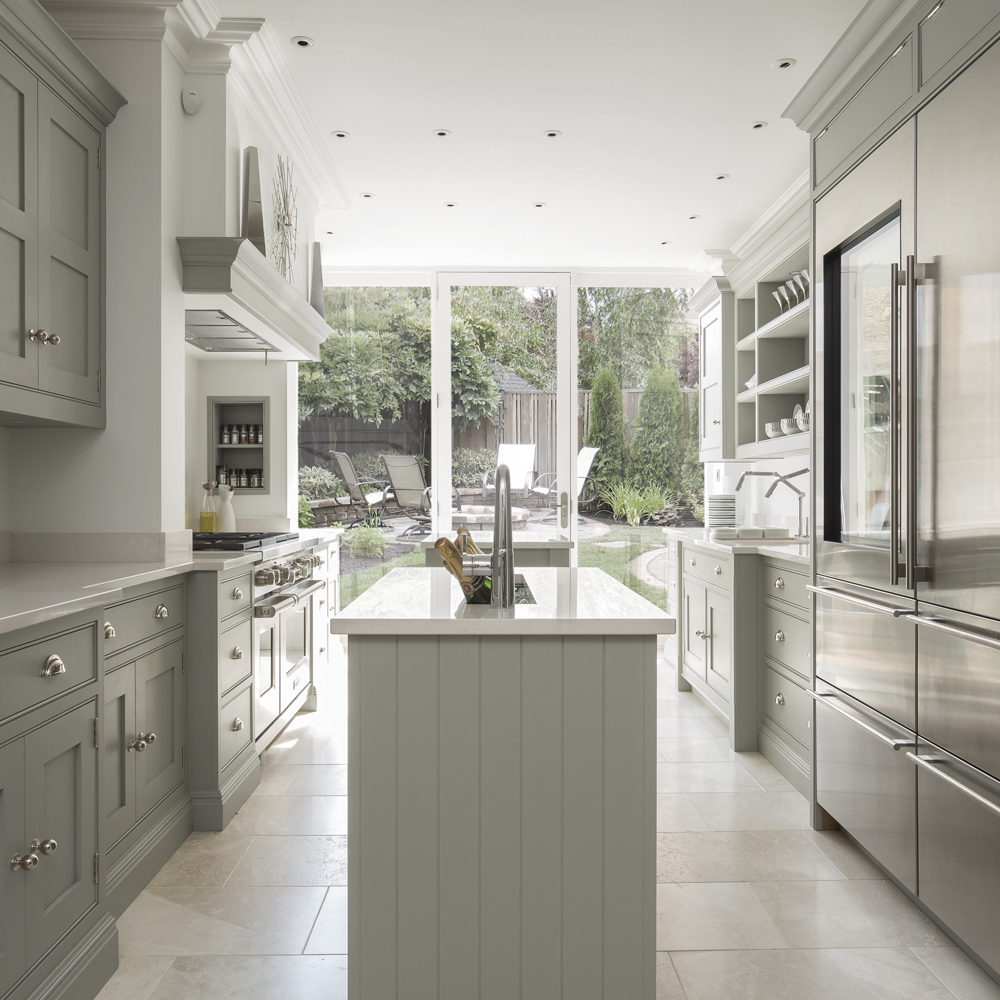 Galley Kitchen with an Island