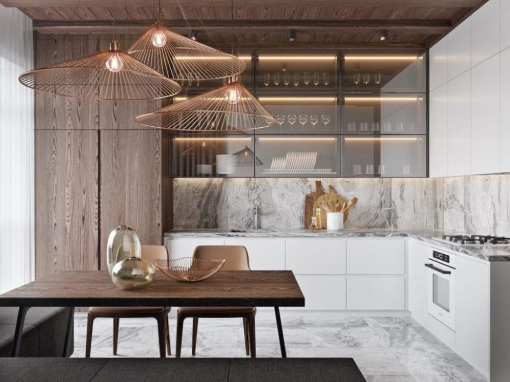 Luxurious Marble L Shape Kitchen